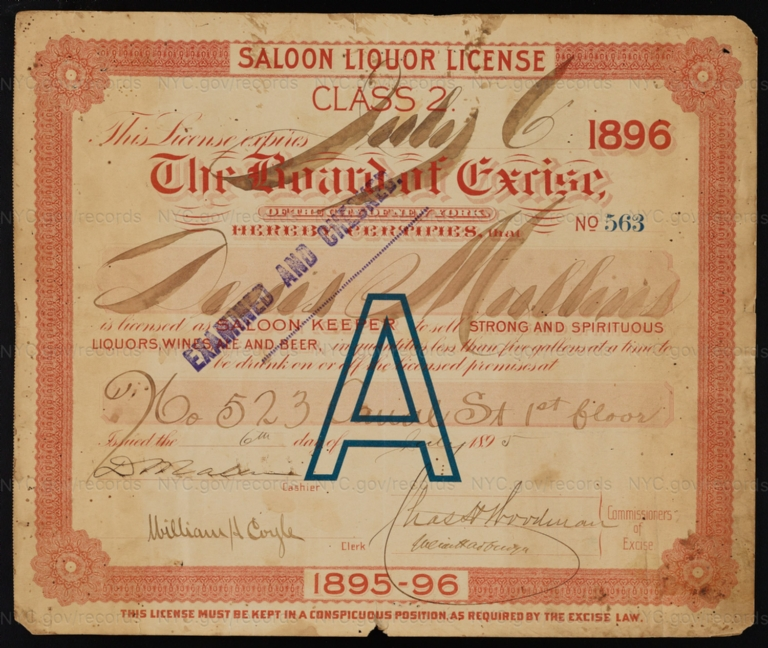 License No. 563: Denis Mullins, 523 Canal St.; assigned to Hannah Dineen and then to James Rowan