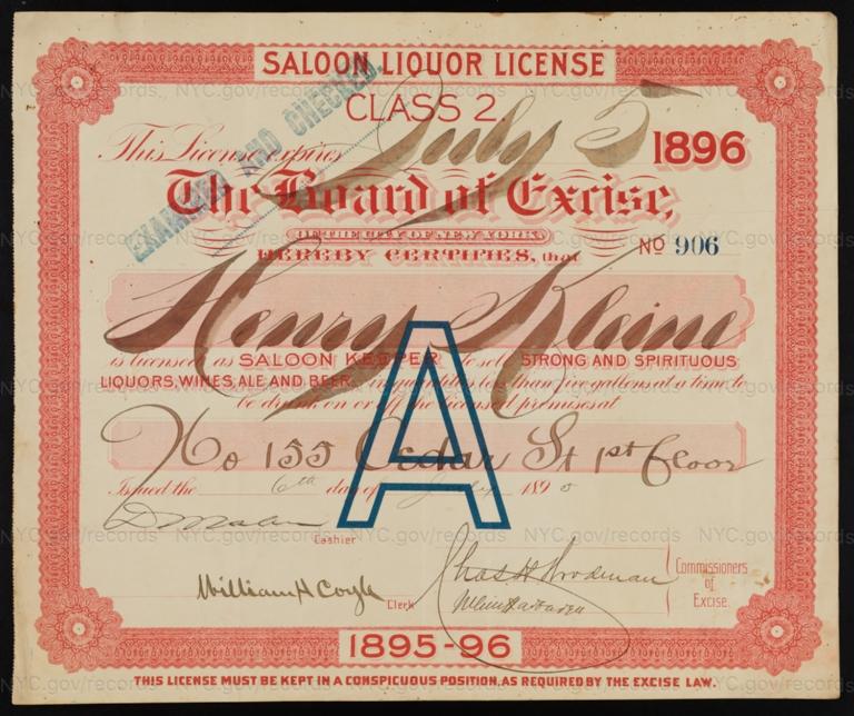License No. 906: Henry Kleine, 155 Cedar St.; assigned to Matilda Sutton