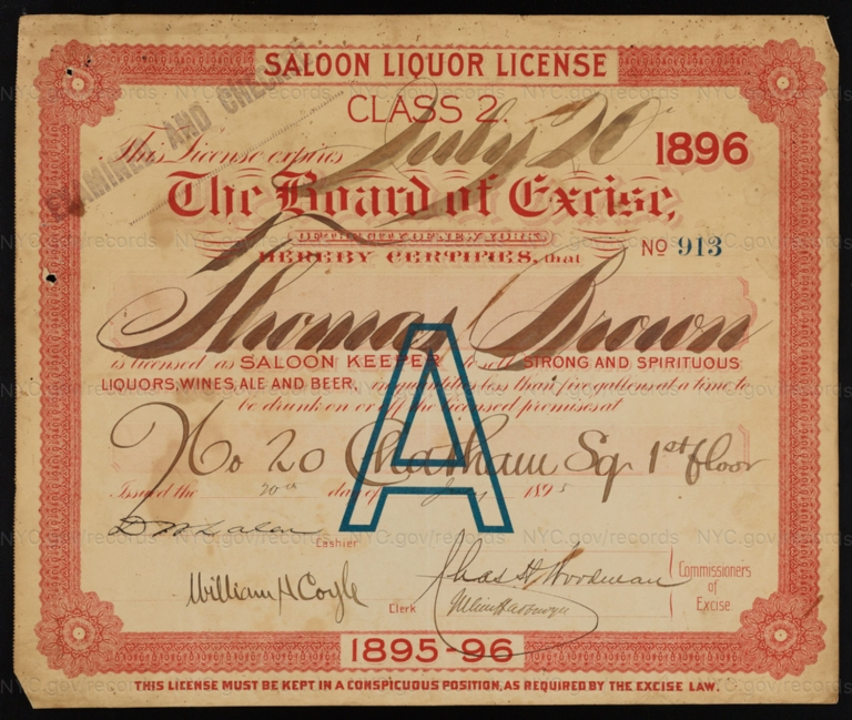 License No. 913: Thomas Brown, 20 Chatham Square; assigned to Morton Moss