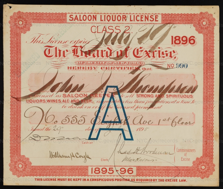 License No. 990: John J. Thompson, 555 Eighth Ave.; assigned to F. & M. Schaefer Brewing Company