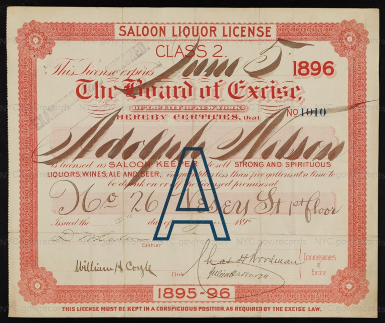 License No. 1010: Adolph Nelson, 26 Vesey St.; assigned to Nathaniel B. Abbott and then to Beadleston & Woerz