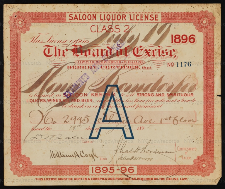 License No. 1176: Henry Korndorfer, 2995 Third Ave.; assigned to Denis O'Grady