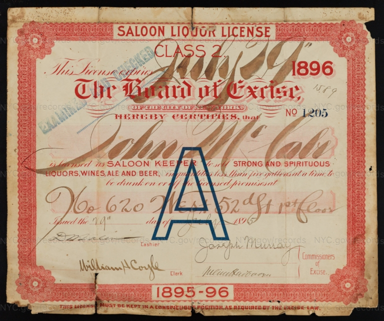 License No. 1205: John McCabe, 620 W. 52nd St.; assigned to Andrew Stroh and then to Isadore Schoenberg