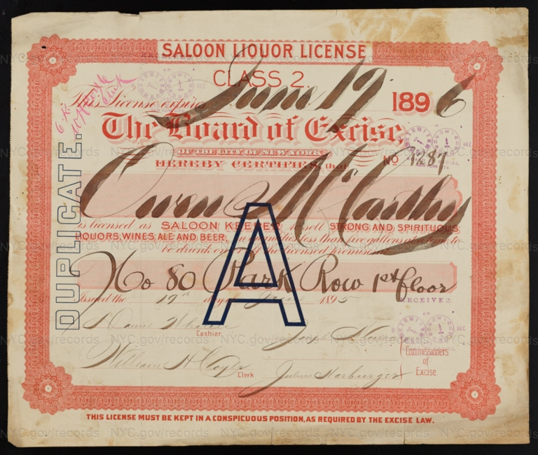 License No. 1287: Owen McCarthy, 80 Park Row; assigned to Congress Brewing Co.