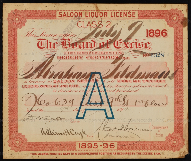 License No. 1328: Abraham Feldman, 639 E. Ninth St.; assigned to James W. Bell and then to Bavarian Star Brewing Company