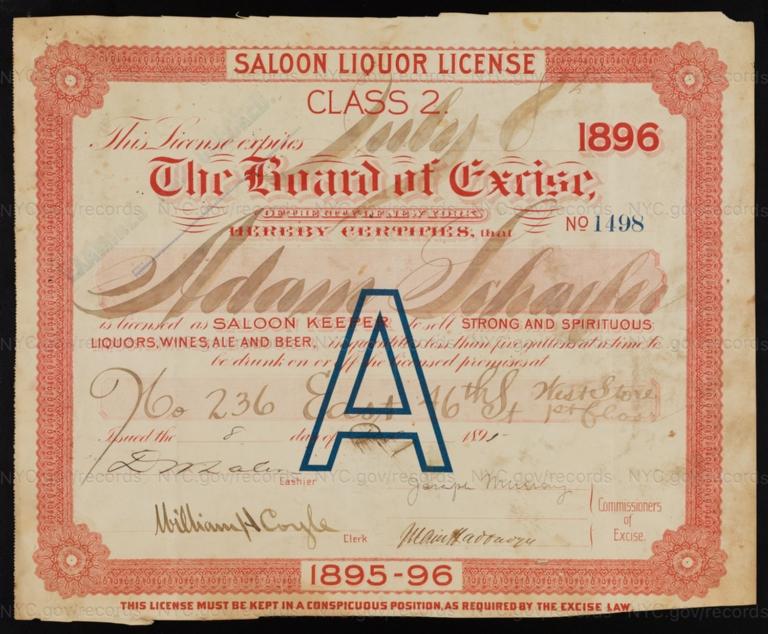 License No. 1498: Adam Schaefer, 236 E. 46th St.; assigned to Consumers Brewing Co.