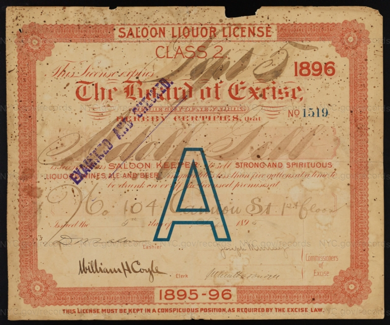 License No. 1519: Adolf Gelb, 104 Cannon St.; assigned to Charles G. Haupel