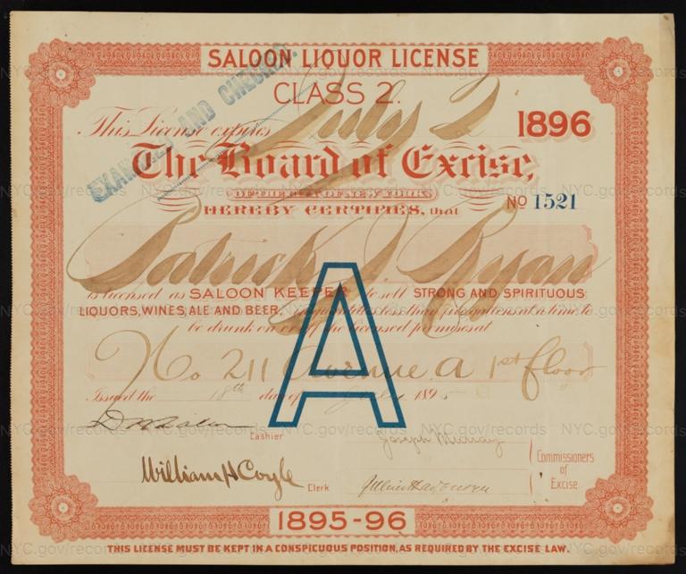 License No. 1521: Patrick J. Ryan, 211 Avenue A; assigned to Hermina Feunivessy