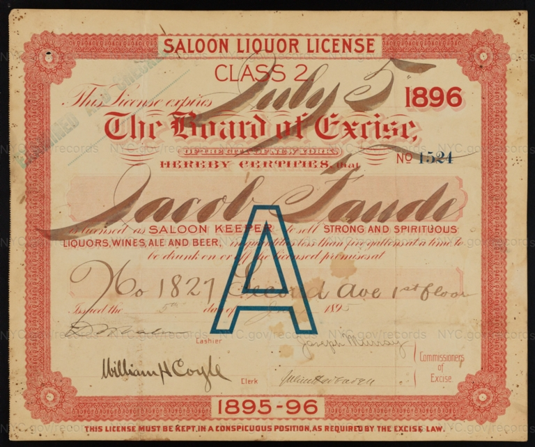 License No. 1524: Jacob Faude, 1827 Second Ave.