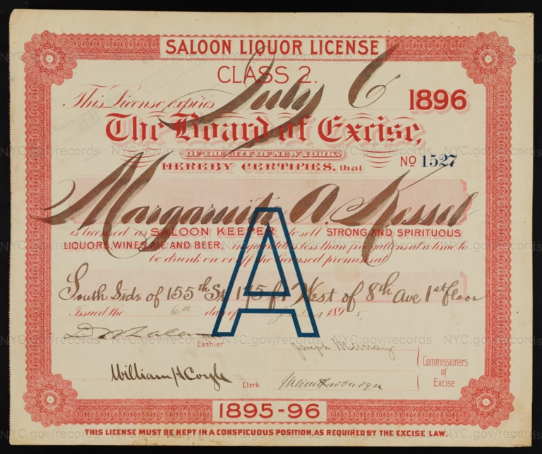 License No. 1527: Margaruite A. Kessel, south side of 155th Street, 175 feet west of Eighth Avenue; assigned to Bernheimer & Schmid Brewery