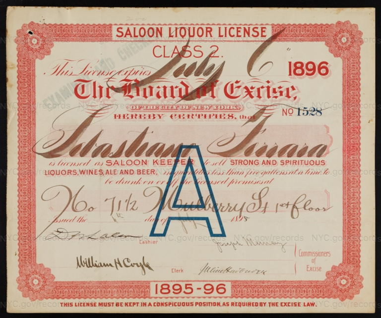 License No. 1528: Sabastiano Ferrara, 71 1/2 Mulberry St.; assigned to Consumers Brewing Co.