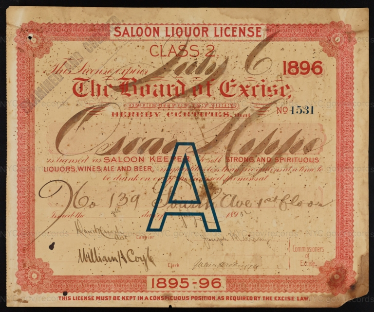 License No. 1531: Oscar Hippe, 139 Fourth Ave.; assigned to Albert I. Bogert