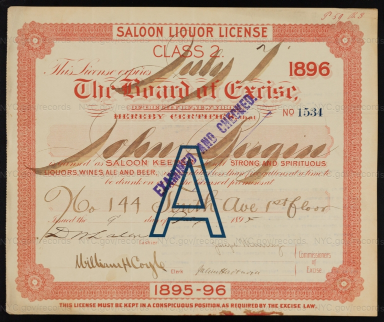License No. 1534: John Bergin, 144 10th Ave.; assigned to H. Clausen & Son Brewing Company