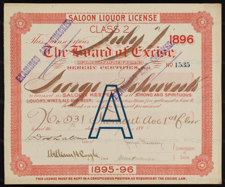 License No. 1535: George Schwenk, 531 Tremont Ave.