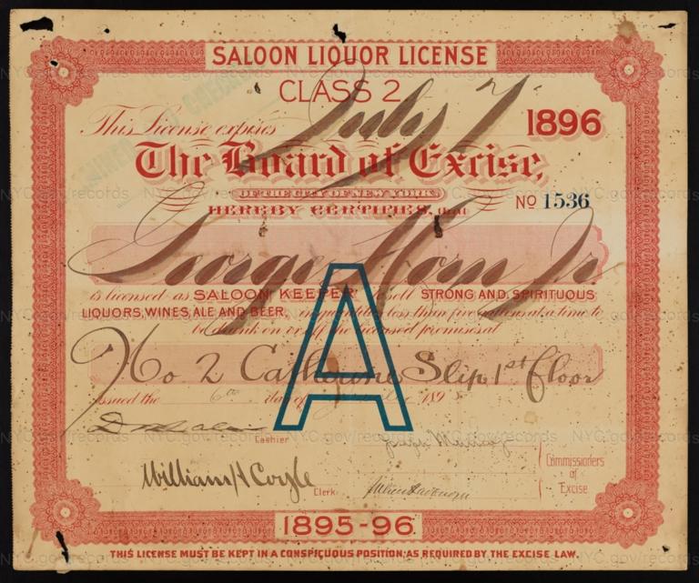 License No. 1536: George Horn Jr., 2 Catherine Slip