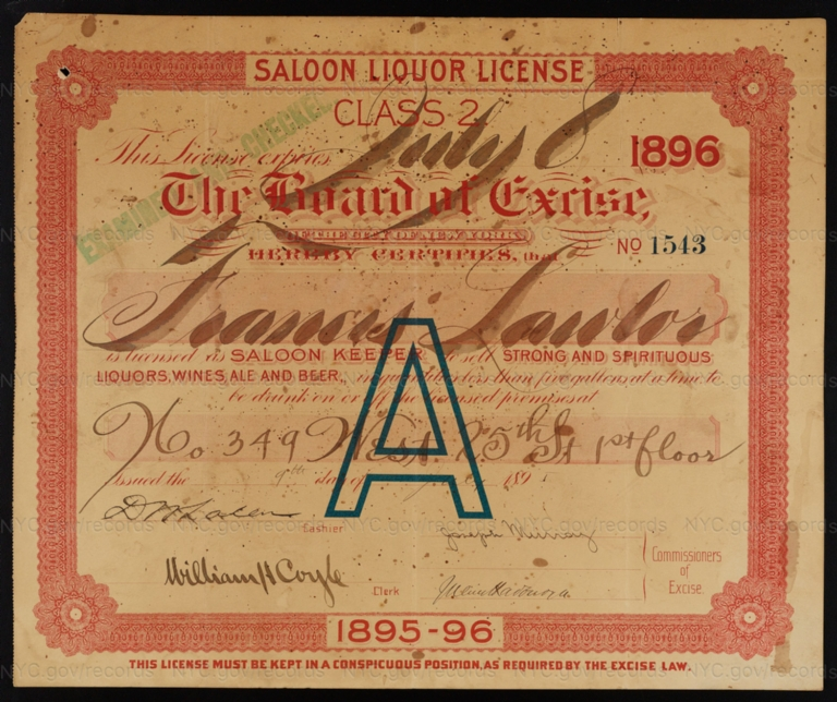 License No. 1543: Francis Lawlor, 349 W. 25th St.