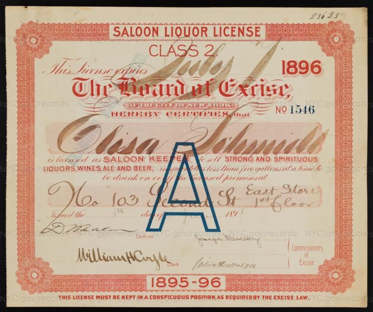 License No. 1546: Elisa Schmidt, 103 E. Second St.; assigned to Louis Friedrich