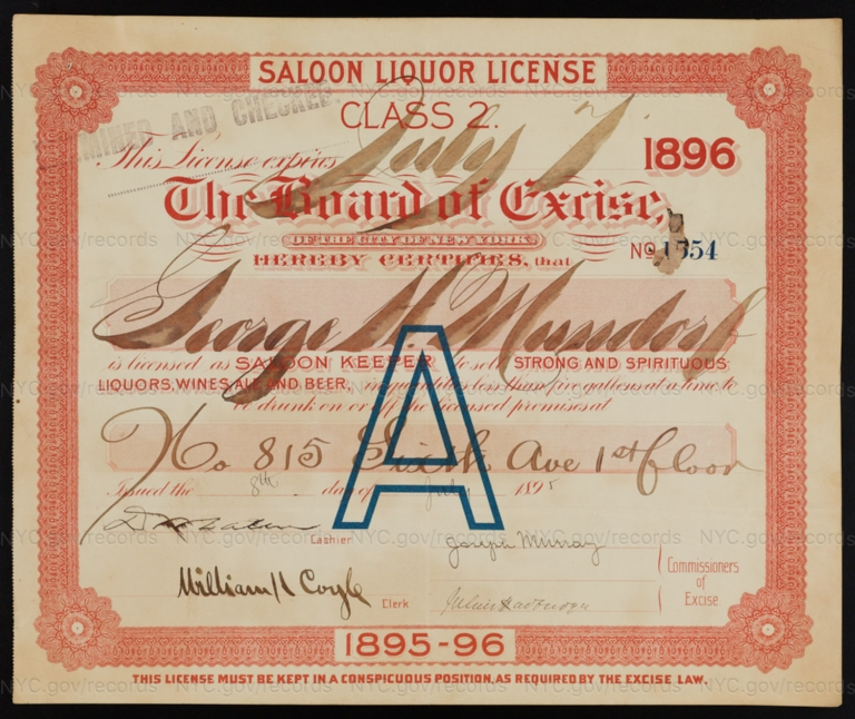License No. 1554: George H. Mundorf, 815 Sixth Ave.; assigned to George W. Knight