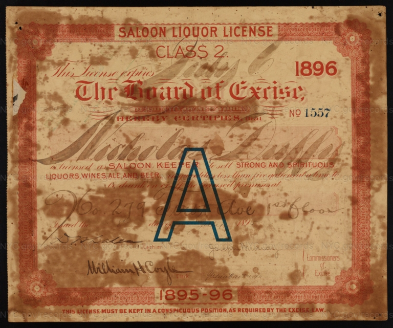 License No. 1557: Nicholas Duffy, 279 First Ave.; assigned to John Kress Brewing Company