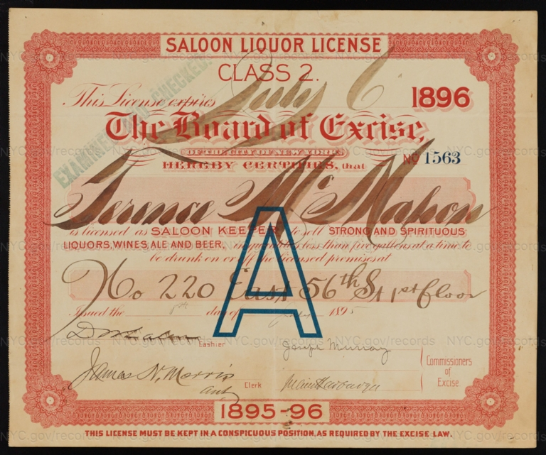 License No. 1563: Terence McMahon, 220 W. 56th St.; assigned to F. & M. Schaefer Brewing Company