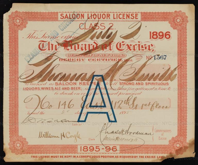 License No. 1567: Thomas H. Smith, 146 E. 112th St.; assigned to Jacob Terrel