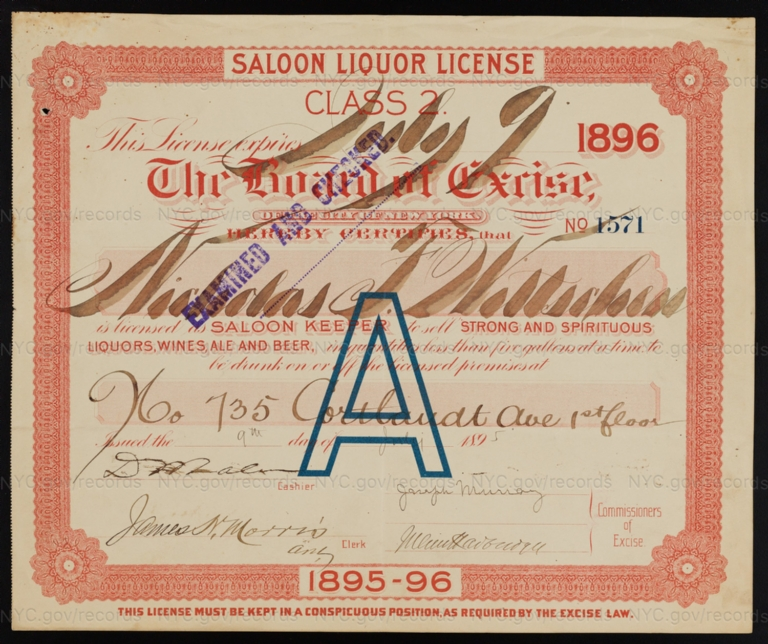 License No. 1571: Nicholas F. Wittschen, 735 Courtlandt Ave.; assigned to Henry Zeltner Brewing Company