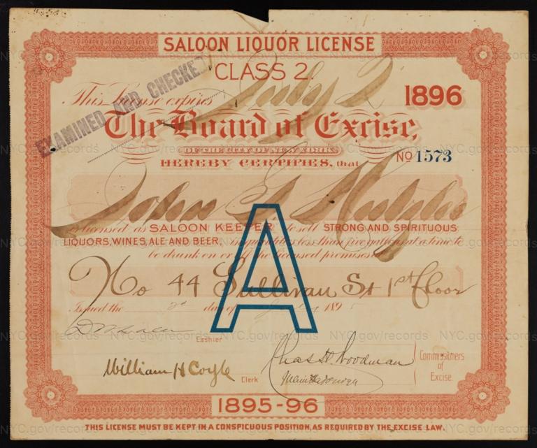 License No. 1573: John G. Hutzler, 44 Sullivan St.