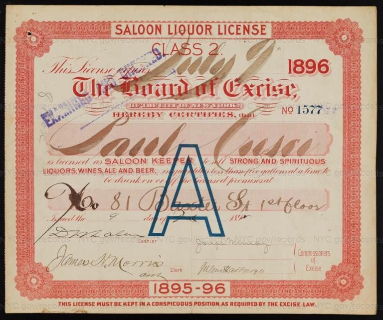 License No. 1577: Paul Cresci, 81 Baxter St.