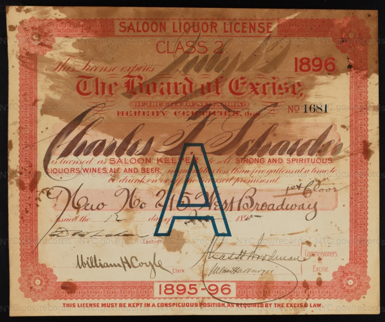 License No. 1681: Charles F. Schaeder, 215 West Broadway; assigned to F. & M. Schaefer Brewing Company