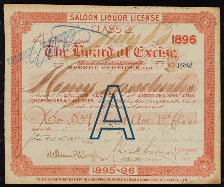 License No. 1682: Henry Landwehr, 537 First Ave.