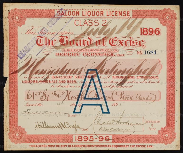License No. 1684: Menzeslaus Berlinghof, West 61st Street and the North River (Stock Yards)