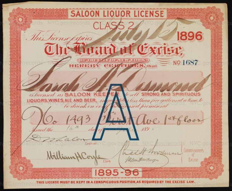 License No. 1687: Sarah A. Desmond, 1493 First Ave.; assigned to Jeremiah J. Desmond