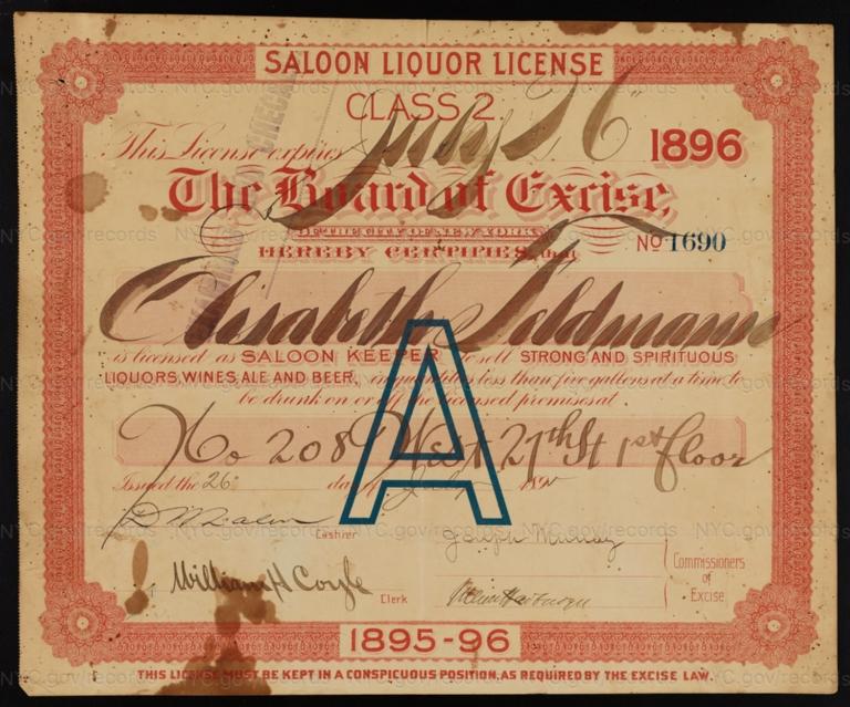 License No. 1690: Elisabeth Feldmann, 208 W. 27th St.; assigned to Bavarian Star Brewing Company