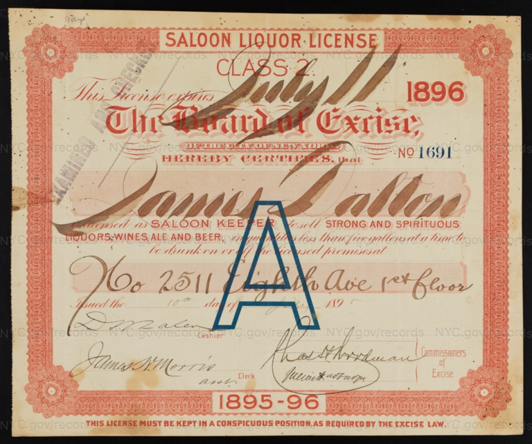 License No. 1691: James Dalton, 2511 Eighth Ave.; assigned to Bavarian Star Brewing Company
