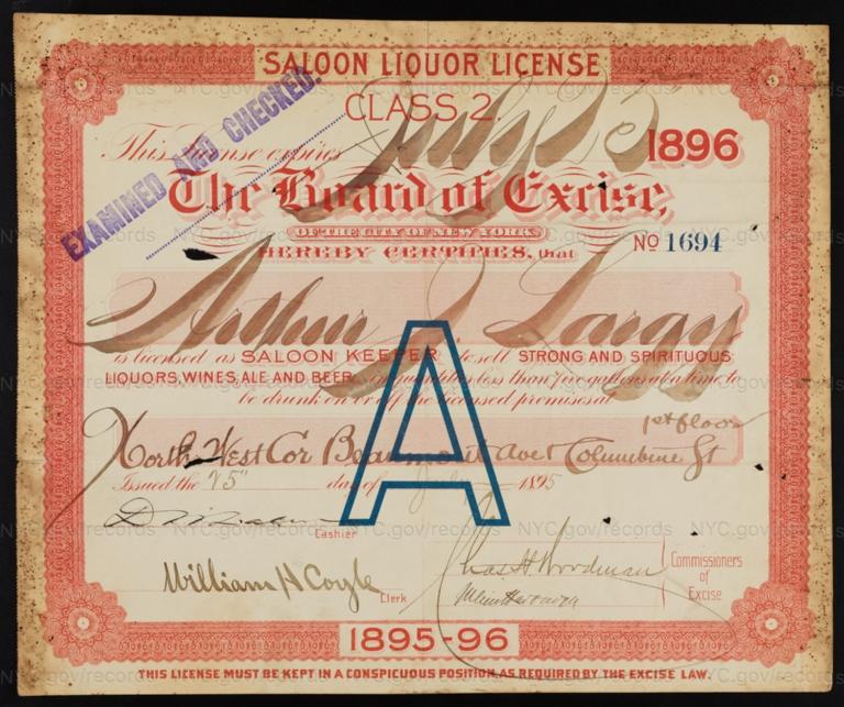 License No. 1694: Arthur J. Largy, northwest corner of Beaumont Avenue and Columbine Street; assigned to Henry W. Lambert