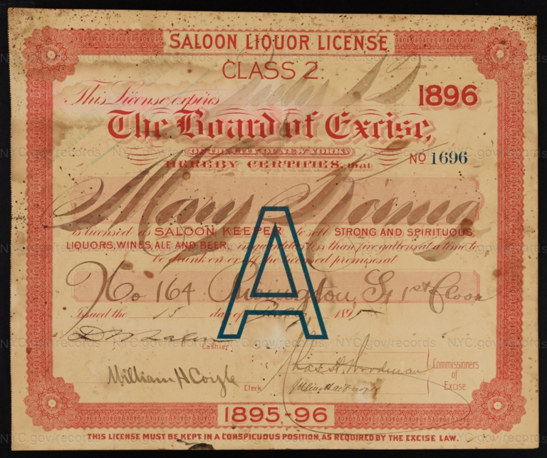 License No. 1696: Mary Koenig, 164 Rivington St.