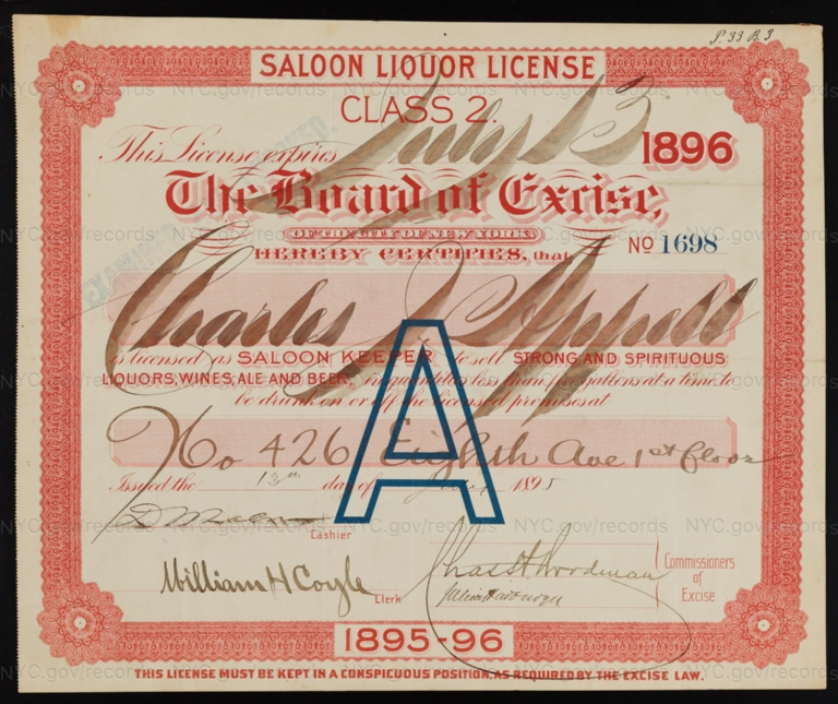 License No. 1698: Charles J. Appell, 426 Eighth Ave.
