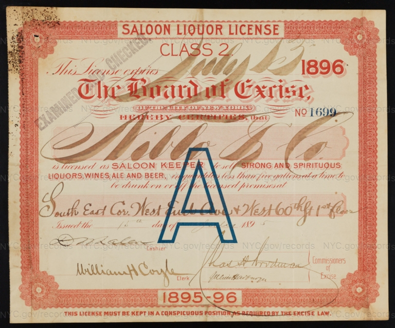 License No. 1699: Niblo & Co. [John Niblo], southeast corner of West End Avenue and West 60th Street; assigned to Consumers Brewing Co.