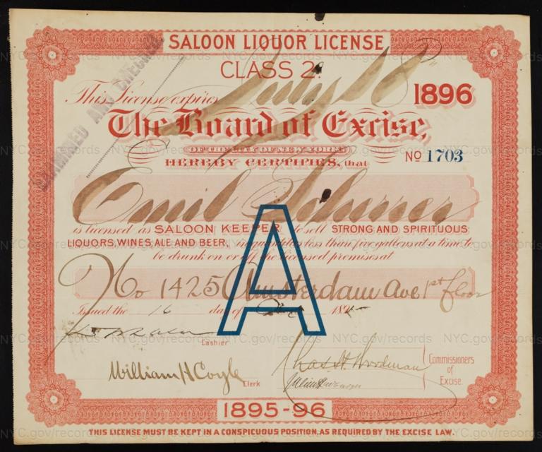 License No. 1703: Emil Scherrer, 1425 Amsterdam Ave.