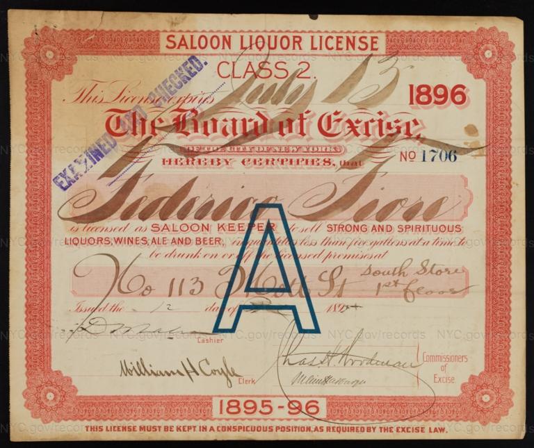 License No. 1706: Fredrico Fiore, 113 Mott St.; assigned to Joseph Stern
