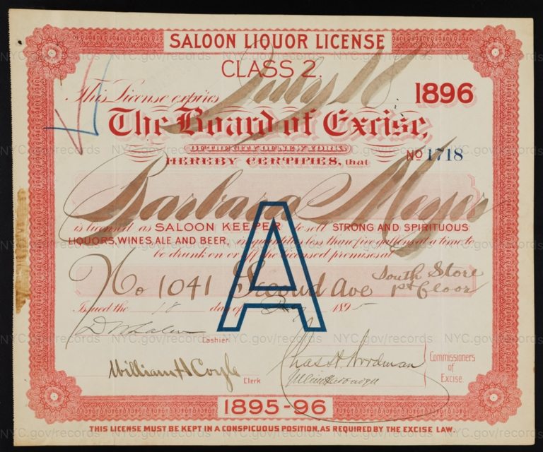 License No. 1718: Barbara Meyer, 1041 Second Ave.; assigned to John Kress Brewing Company