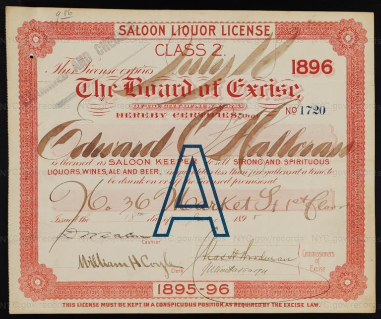 License No. 1720: Edward O'Halloran, 36 Market St.; assigned to James Everard