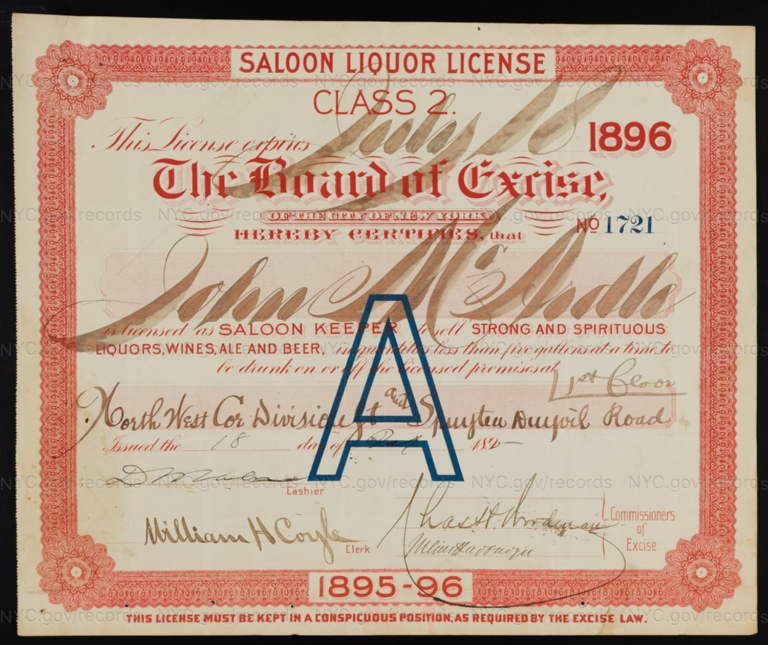 License No. 1721: John McArdle, northwest corner of Division Street and Spuyten Duyvil Road; assigned to David Mayer Brewing Co.