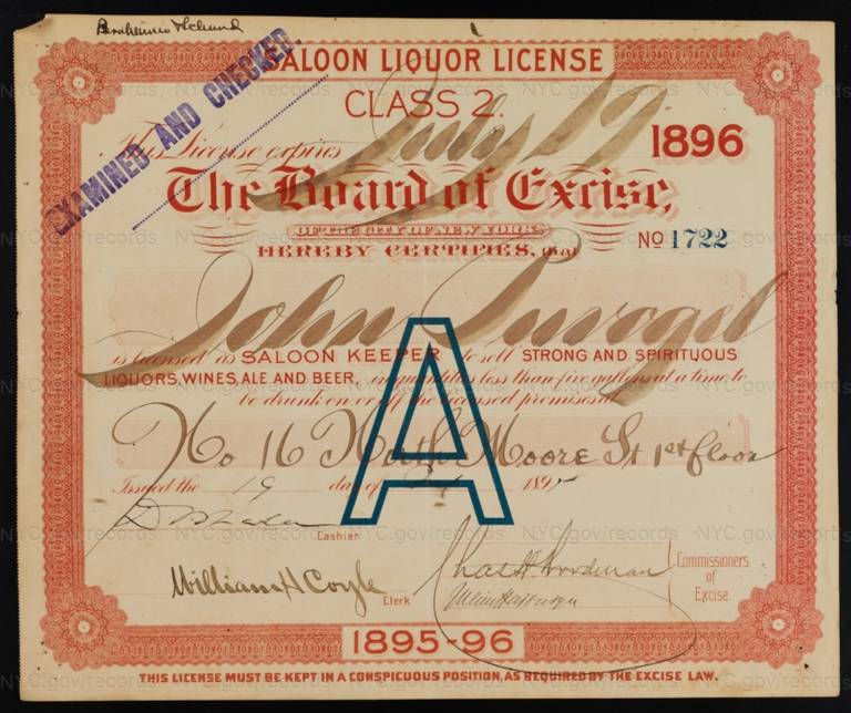 License No. 1722: John Puvagel, 16 North Moore St.
