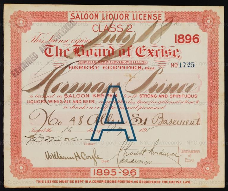 License No. 1725: Herman Prince, 48 Allen St.; assigned to H. B. Scharmann & Sons