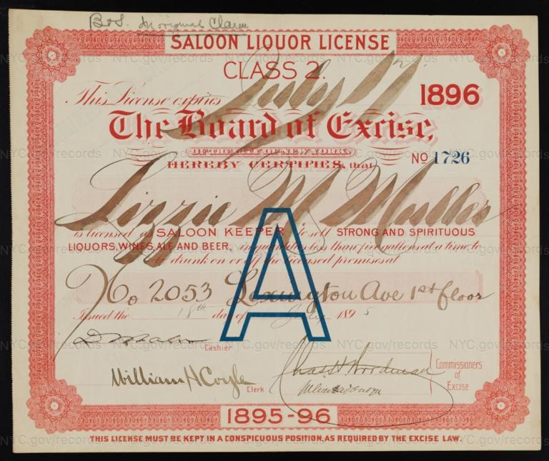 License No. 1726: Lizzie Muller, 2053 Lexington Ave.