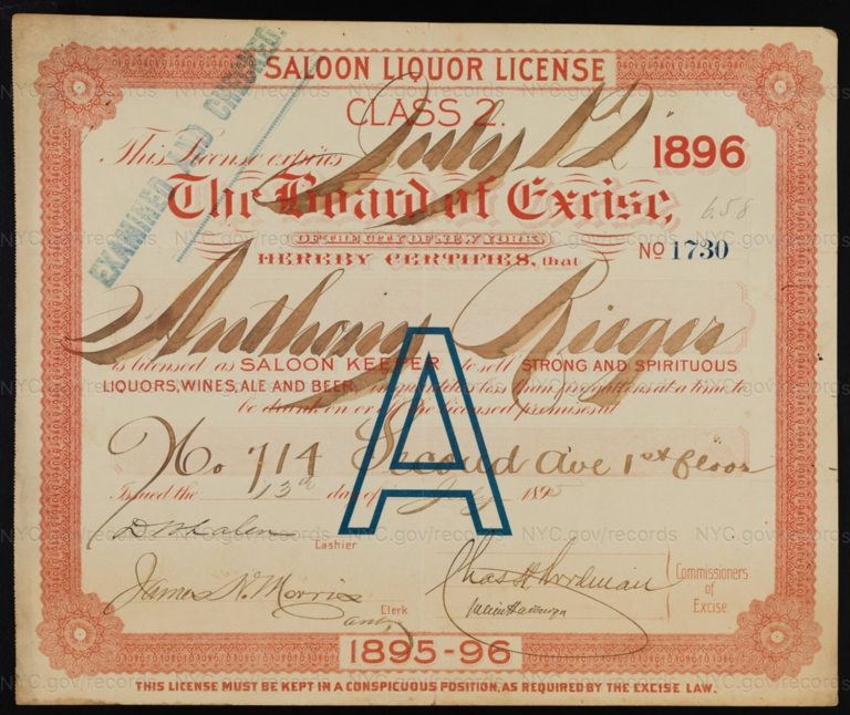 License No. 1730: Anthony Rieger, 714 Second Ave.; assigned to Ichabod Bulson