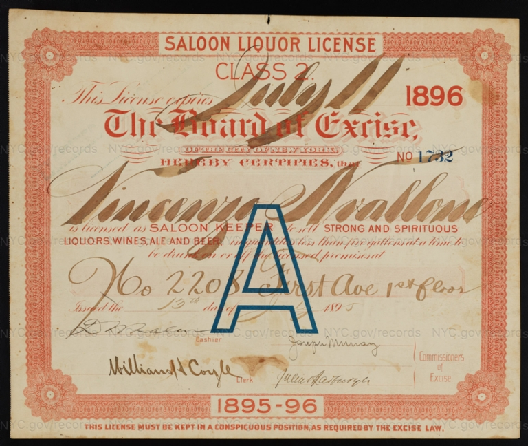 License No. 1732: Vincenzo Nvallone, 2208 First Ave.; assigned to Bernheimer & Schmid Brewery
