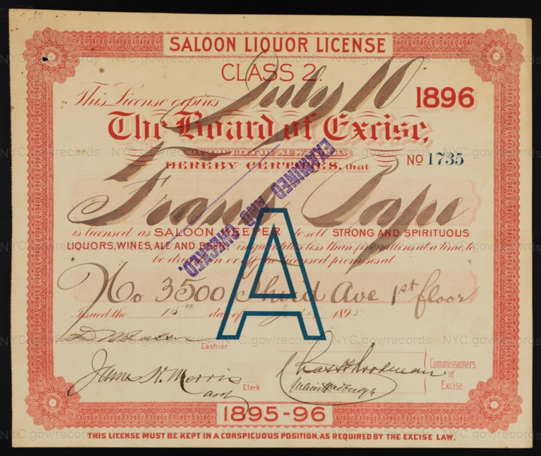 License No. 1735: Frank Pape, 3500 Third Ave.; assigned to Henry Zeltner Brewing Company