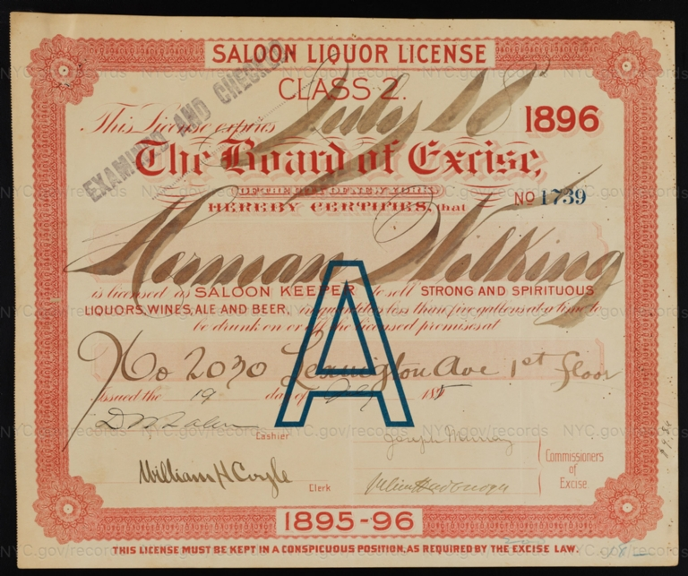 License No. 1739: Herman Wilking, 2030 Lexington Ave.; assigned to Consumers Brewing Co.